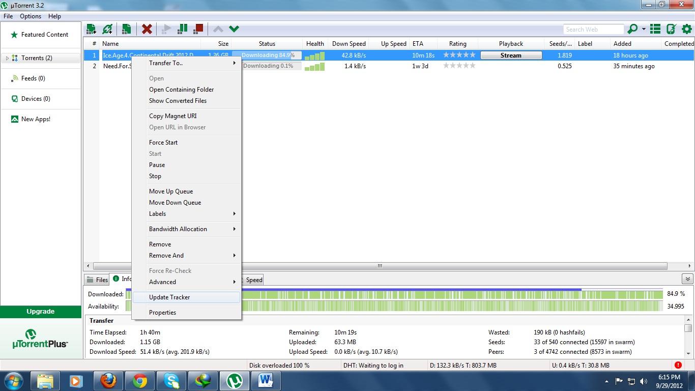 Utorrent updating tracker stuck